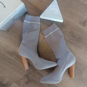 NIB! Grey Heeled Sock Boots
